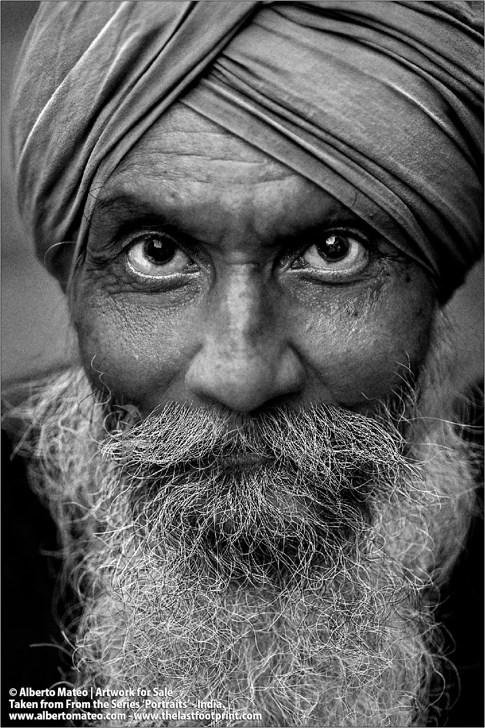 Portrait of Sikh from Amritsar, Bara Bazar, Kolkata, India.