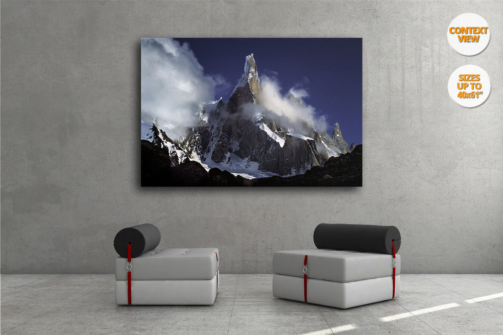 Clouds over Cerro Torre, Patagonia, Argentina. | Print hanged in living room.