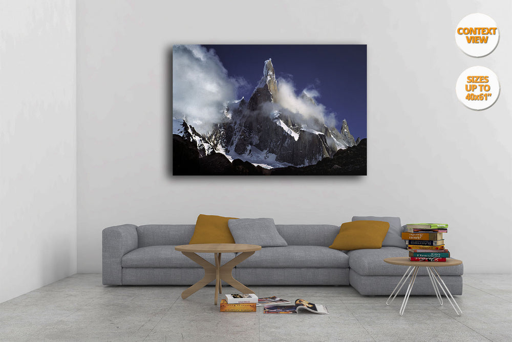 Clouds over Cerro Torre, Patagonia, Argentina. | Print hanged over sofa.