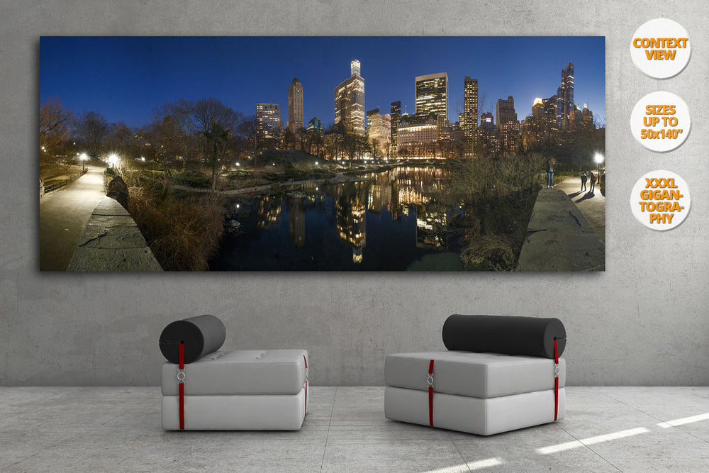 The Pond at dusk, Central Park at dusk, NYC, USA. | View of the Print hanged in living room.