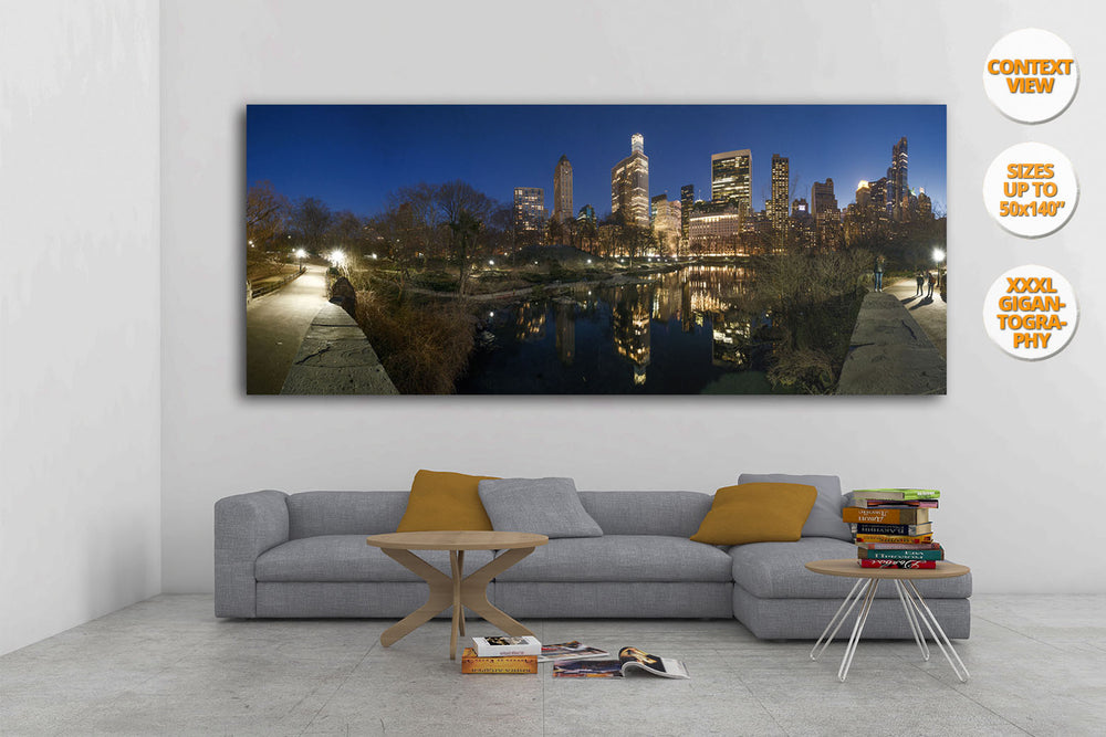 The Pond at dusk, Central Park, NYC, USA. | View of the Print hanged in living room.