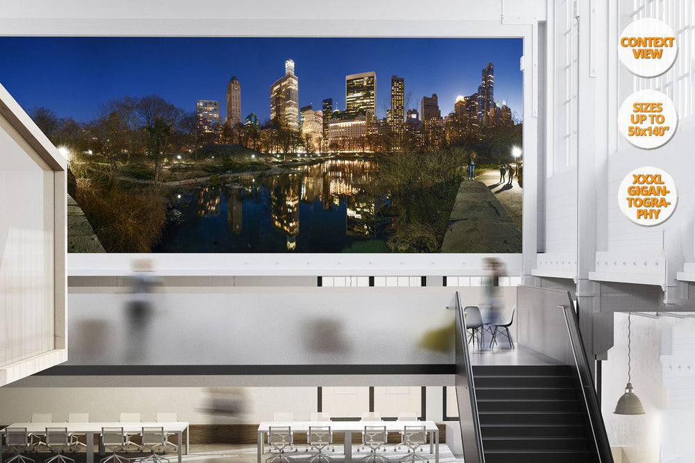 The Pond at dusk, Central Park at dusk, NYC, USA. | Giant Print hanged in office.