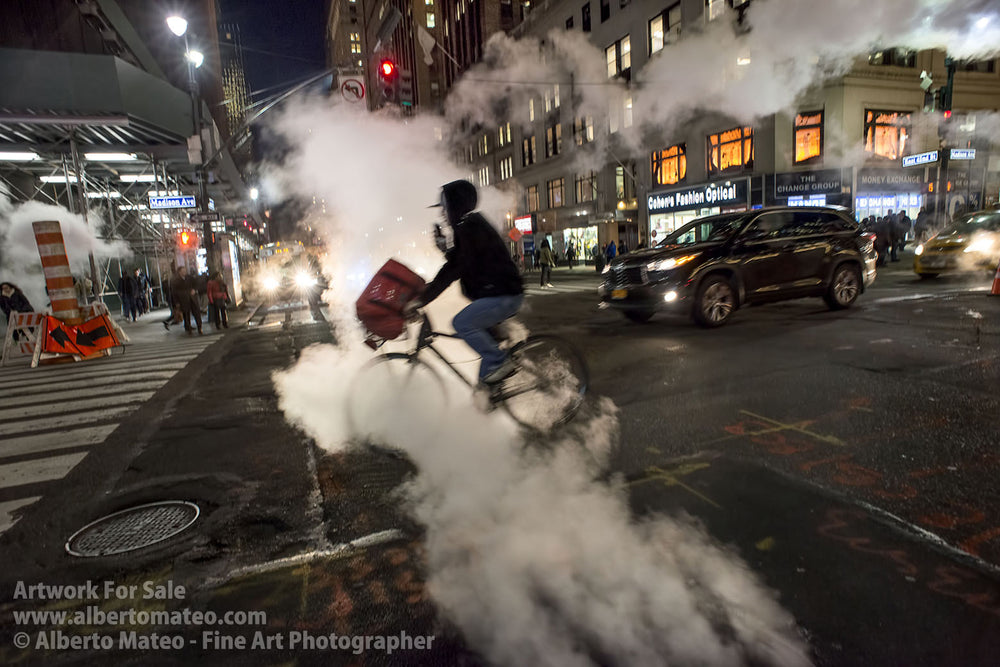 Steam in the 42nd. St., Manhattan, New York.