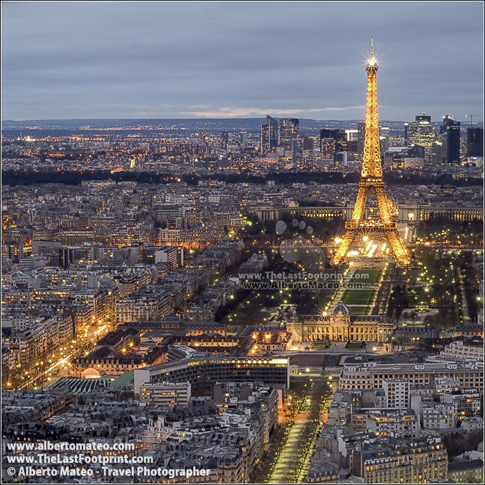 Eiffel Tower at dusk, aerial view of Paris, France. | Square view.