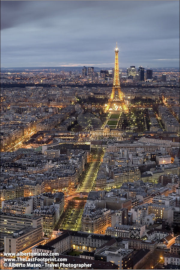 Eiffel Tower at dusk, aerial view of Paris, France. | Full view.