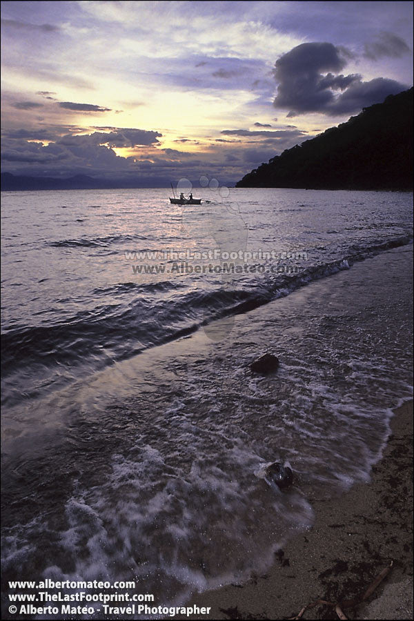 Fishermen boat at sunrise, Lake Malawi. | Open Editio Print.