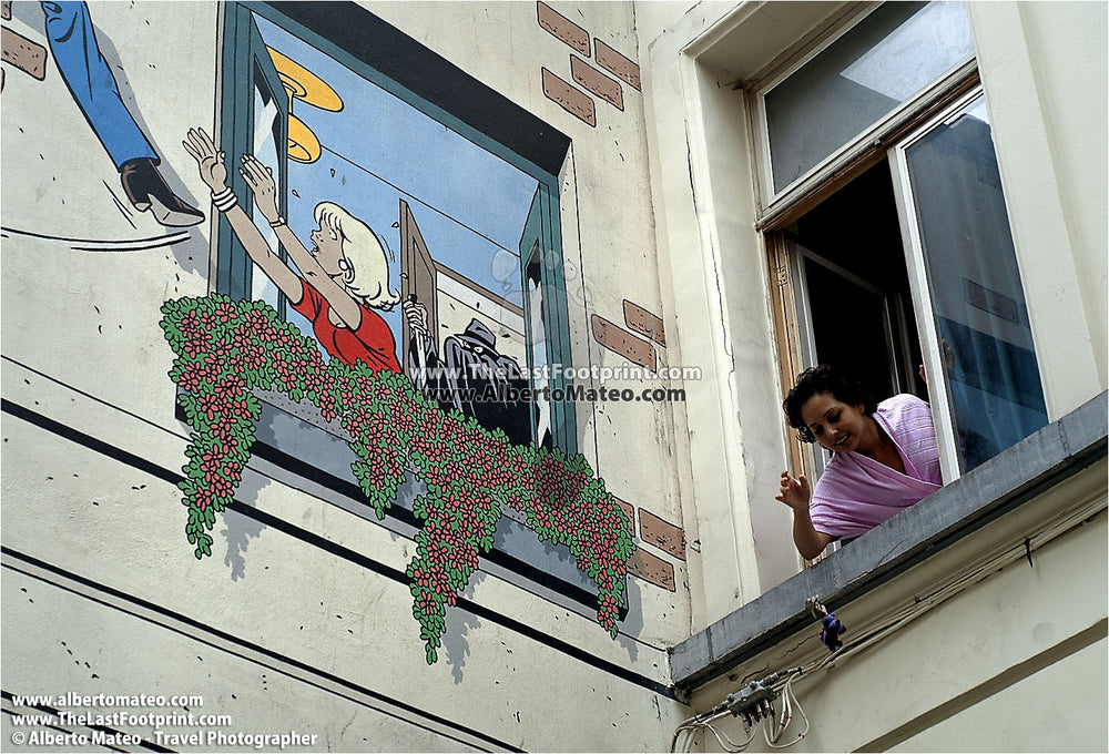 Comic painted on mural, Brussels. | Fine Arr Print.