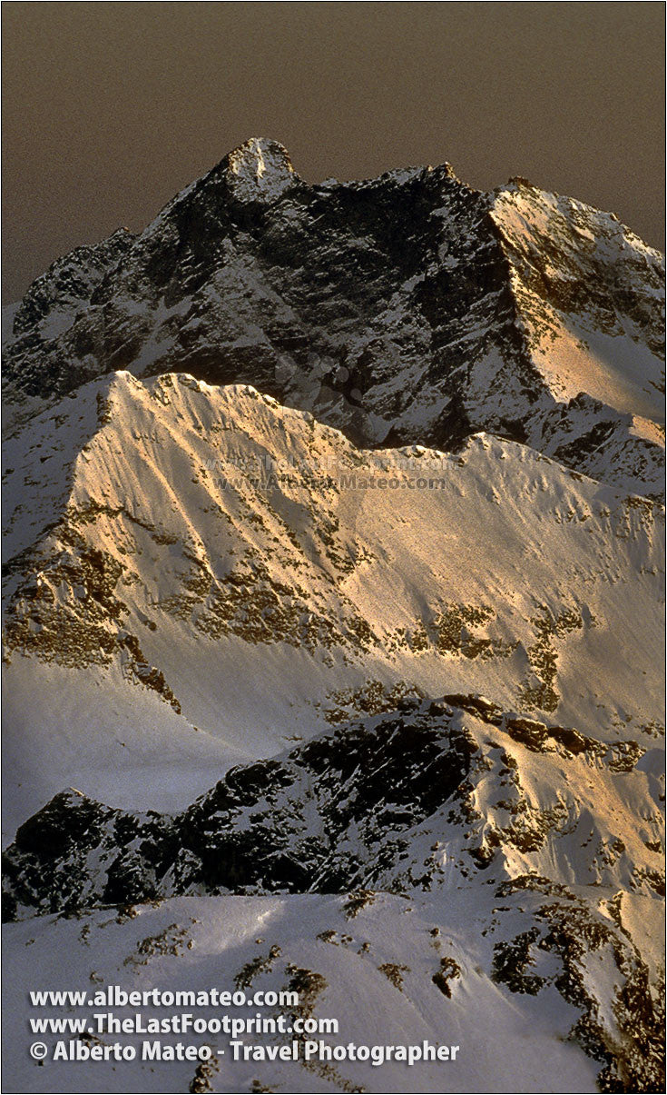 Mount Corno Bianco at dusk, Alps, Italy.  | Cropped for Pinterest.