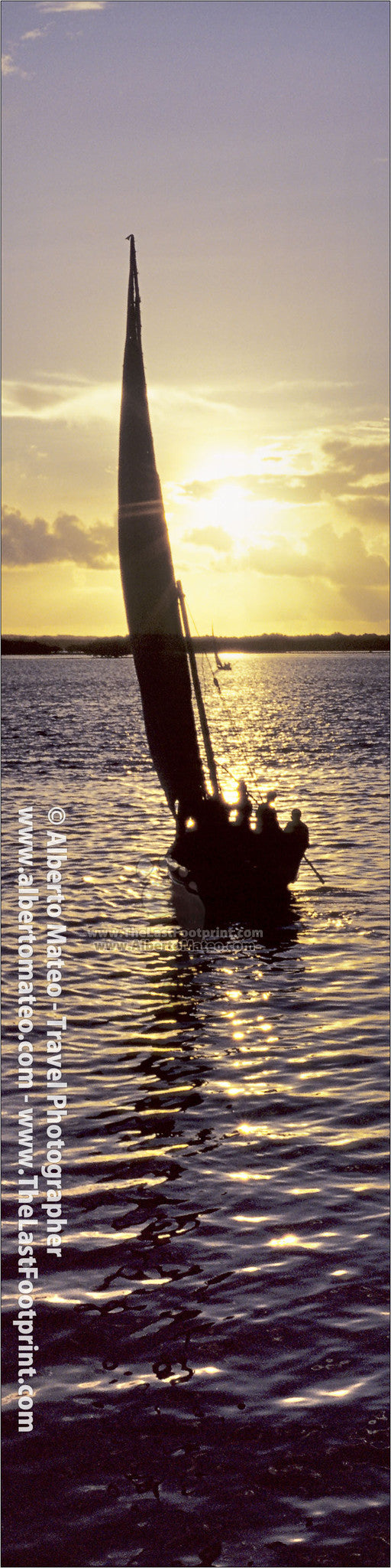 Dhow sailing at sunrise, Lamu Island, Kenya. | Vertical Print.