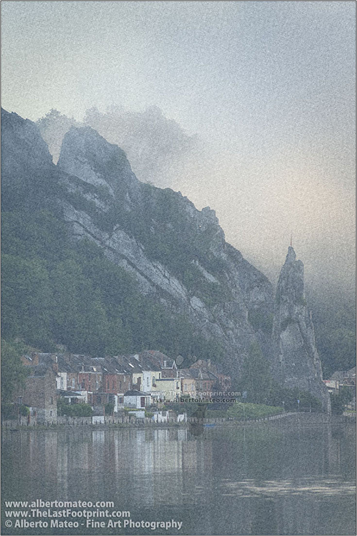 Houses on shore of River Meuse, Dinant, Walonnia, Belgium.