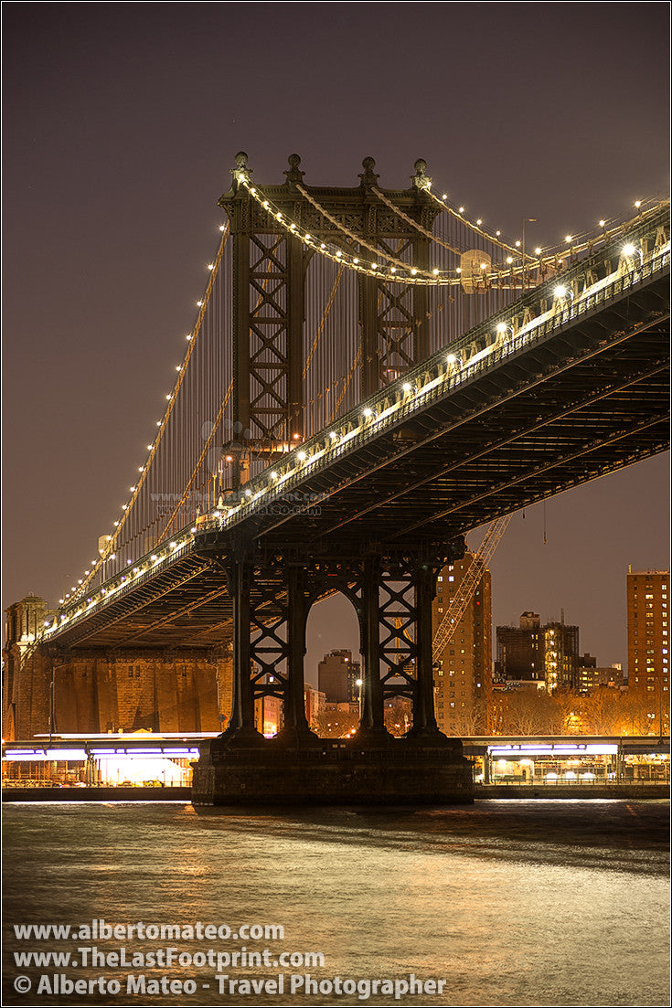 Manhattan Bridge By Night New York By Alberto Mateo
