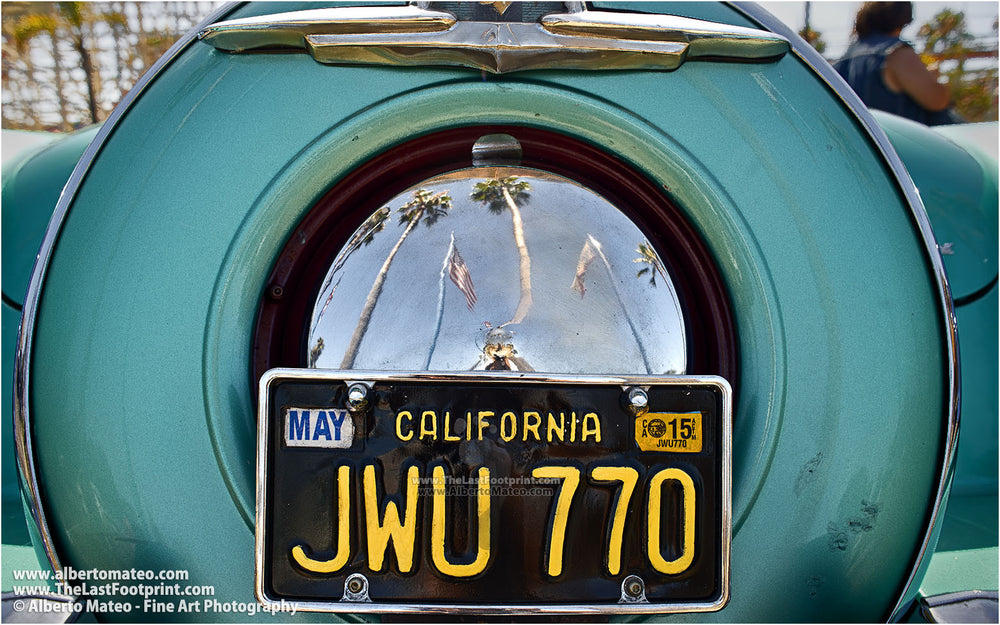 Reflections on Mercury spare wheel, San Diego. | Open Edition Print.