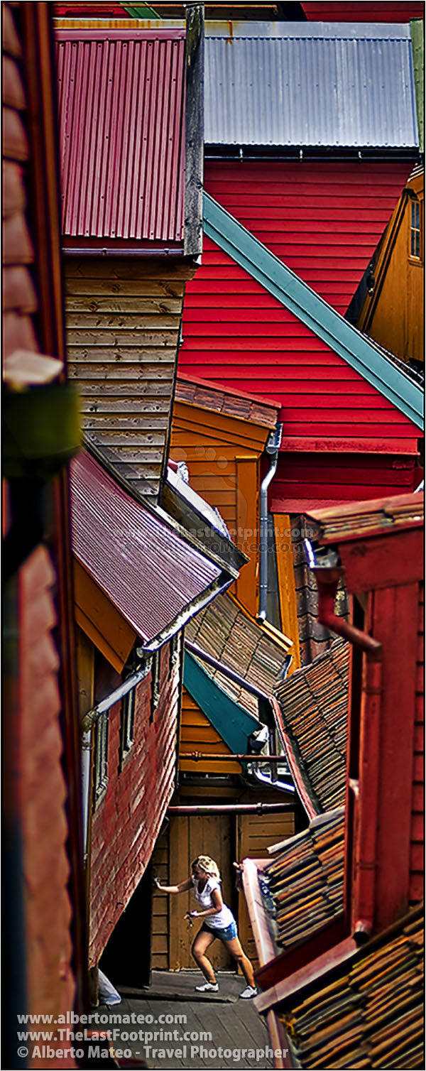 Colorful roofs on Nordic houses, Bergen, Norway. | Open Edition Print.