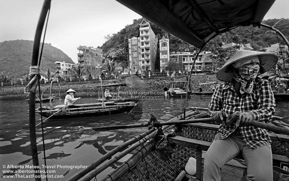 Taxi boats in Cat Ba Island, Vietnam. | Black and White Original Fine Art Print.