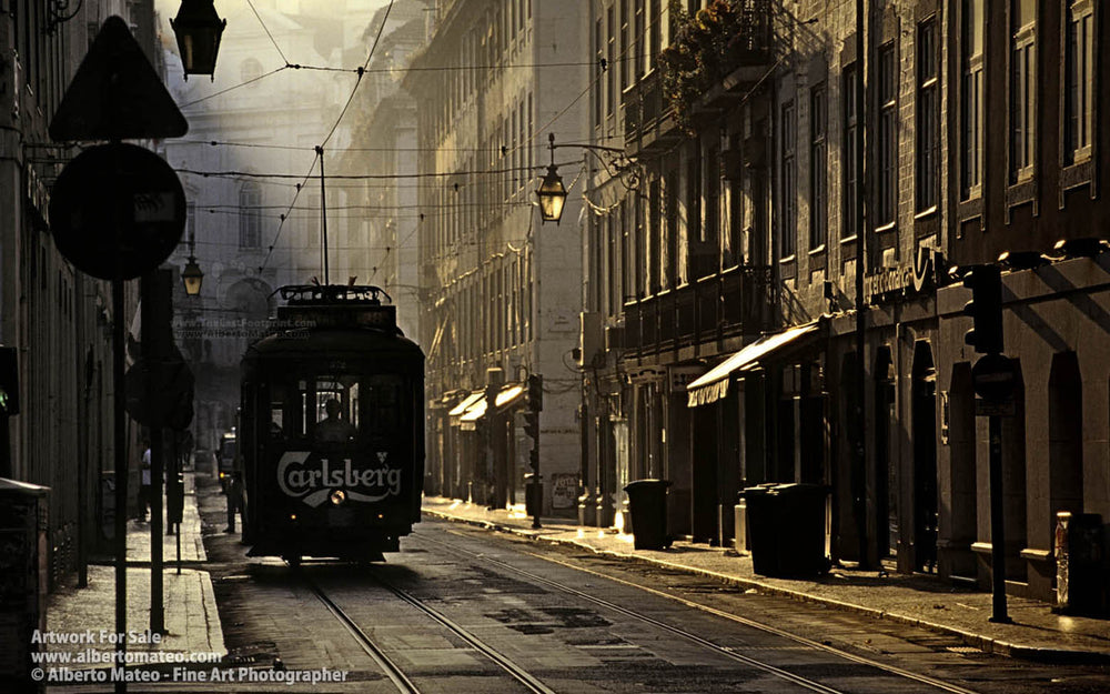 Tram in La Baixa, Lisboa, Portugal. | Open Edition Print.
