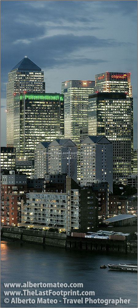Canary Wharf at dusk, Thames River, London. | Fine Art Print.