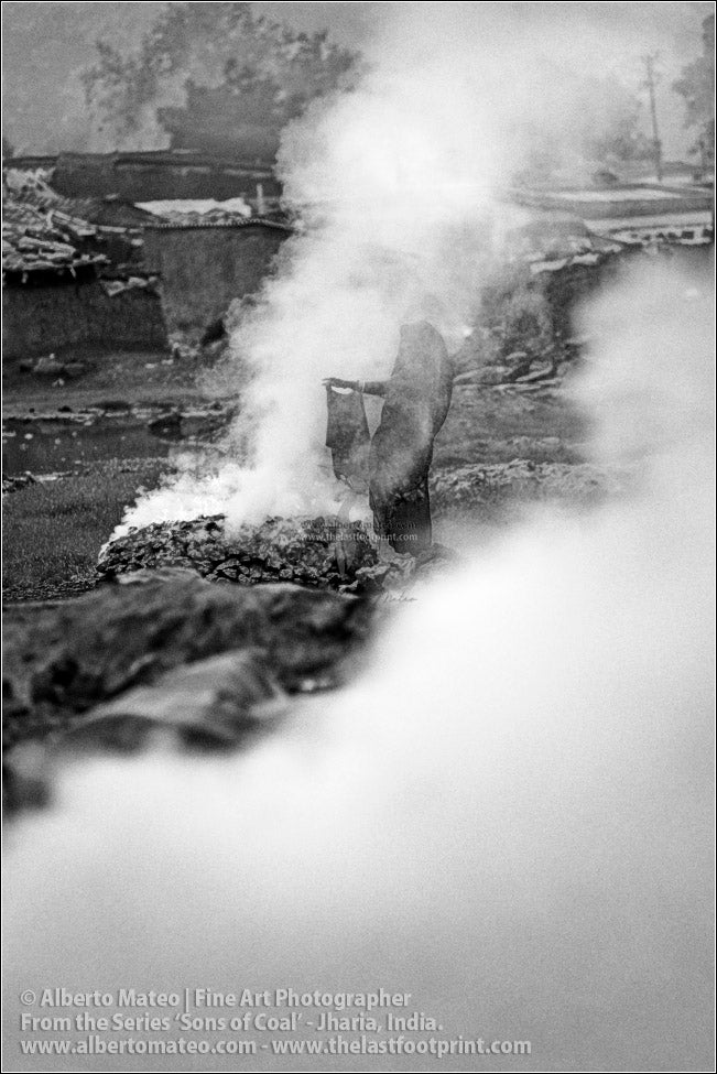 Woman drying Clothes in Smoke, Sons of Coal Series.