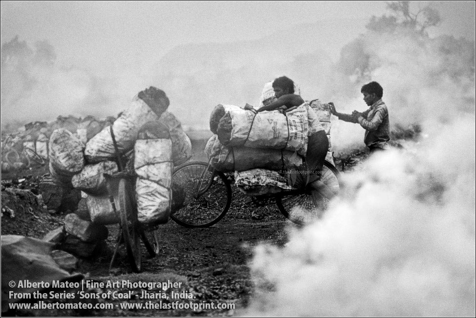 Men pushing a loaded Bicycle, Sons of Coal Series.