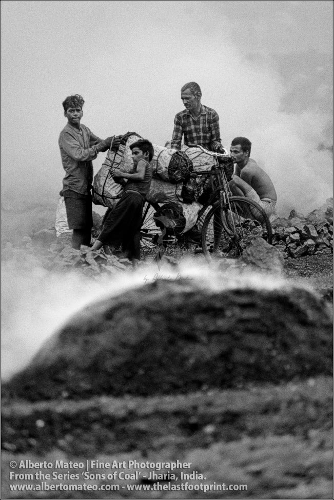Family loading a Bicycle with Coal Bags, Sons of Coal Series.