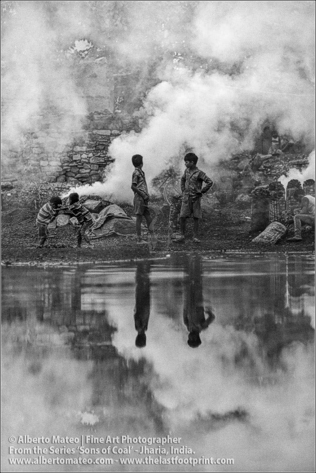 Children playing among Coal Bonfires, Sons of Coal Series.