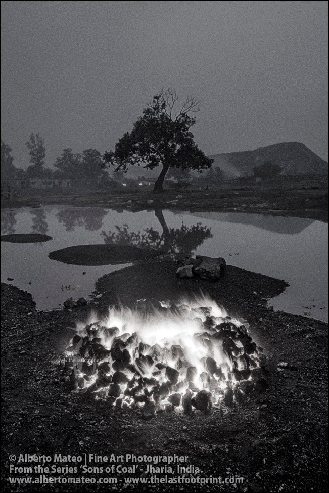 Coal Bonfire next to Pond, Sons of Coal Series.