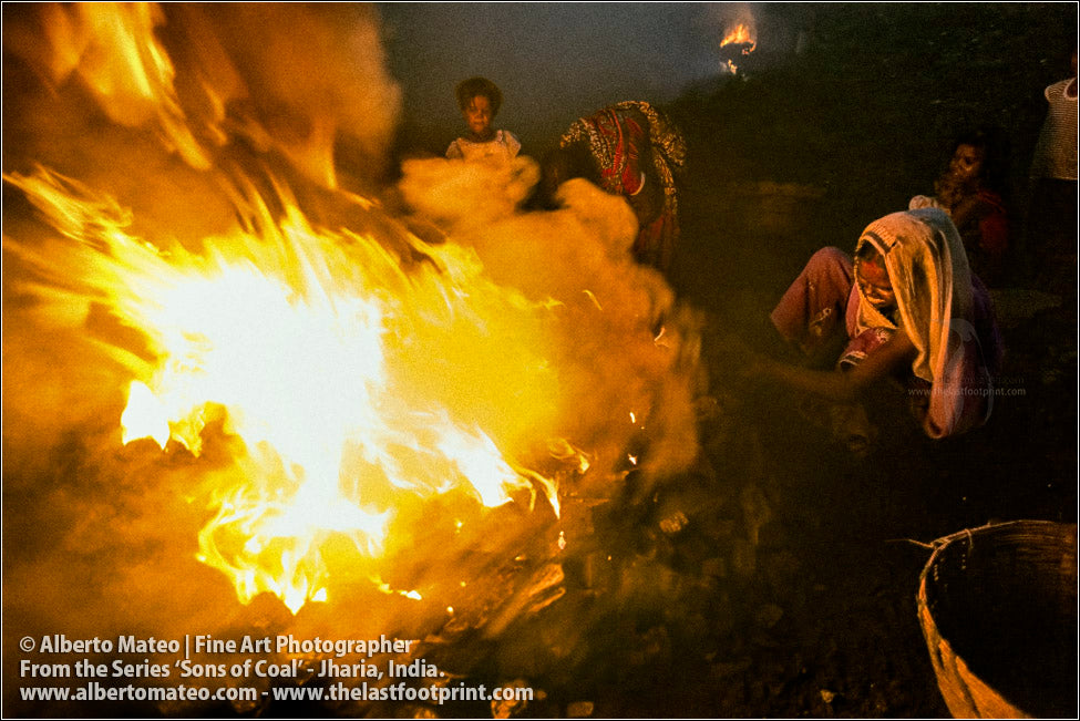 Woman and Children next to Flames, Sons of Coal Series.