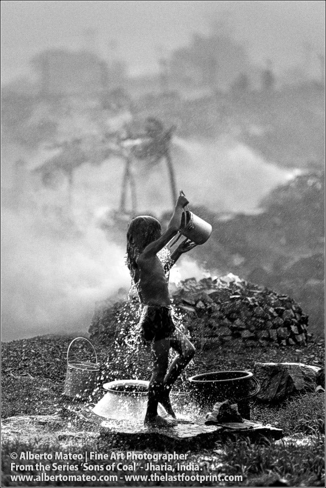 Girl having a shower under the Rain, Sons of Coal Series.