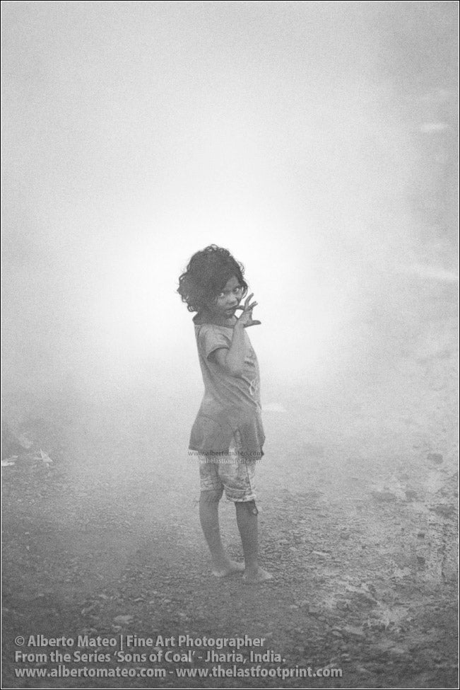 Small Girl crying in Coal Smoke, Sons of Coal Series.