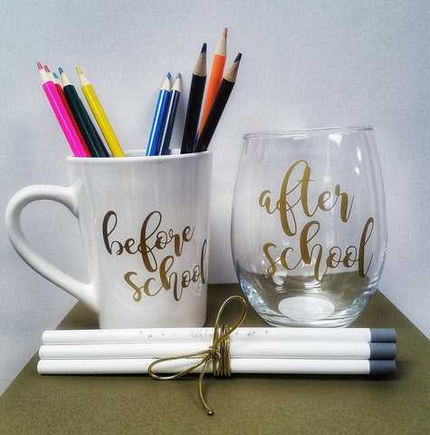 Before and After School Mug and Wine Glass - Olipikapa