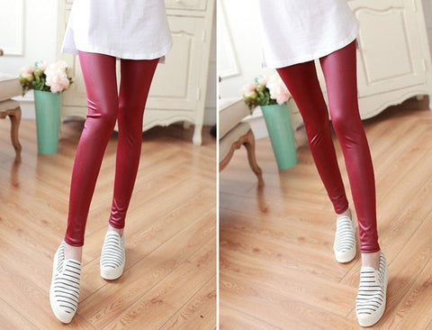 Skinny faux leather pants