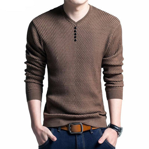 Pullover Men V Neck Long Sleeve