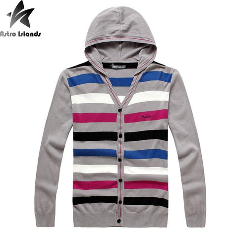 Striped slim fit hooded cardigan