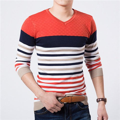 Striped V neck pullover