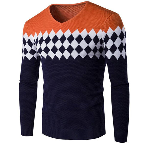 Stylish diamond lattice knitted long sleeve pullover