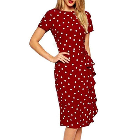 Asymmetircal Polka Dot Knee Length Dress