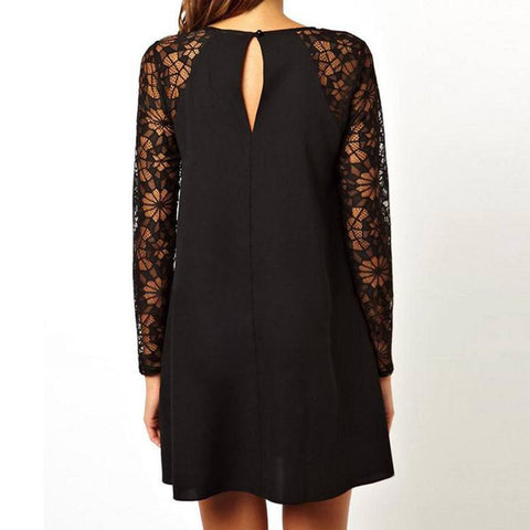 Black Long Sleeve O Neck Mini  Dress
