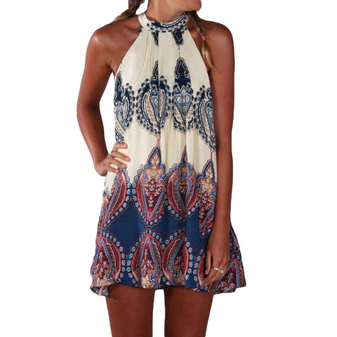 Printed Halter Neck Sleeveless Beach Party Mini Dress