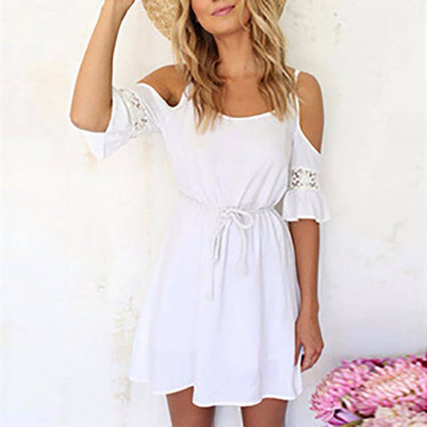 Short Casual White Spaghetti Strap Summer Dress