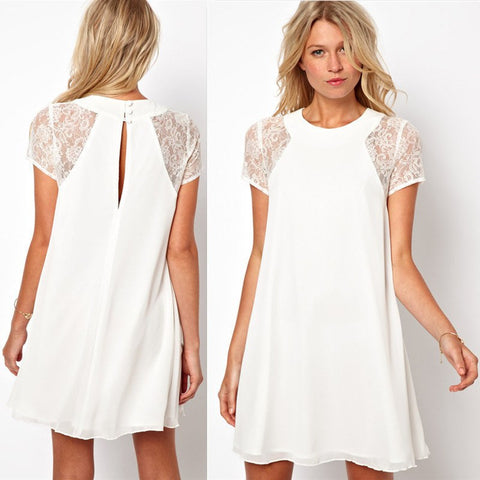 Short Sleeve Chiffon Lace Dress