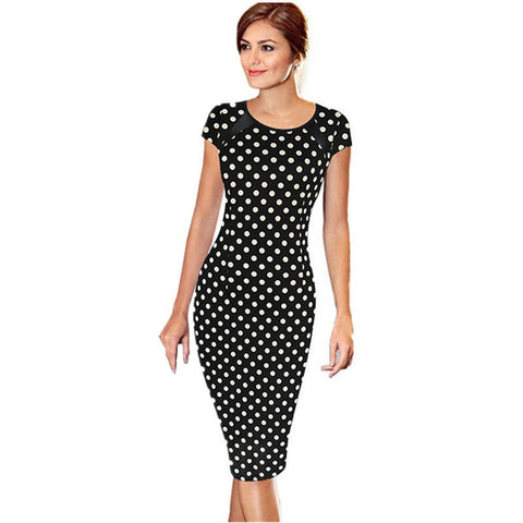 Short Sleeve Dot Print Knee Length Office Dress