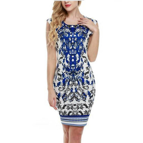 Sleeveless Blue And White Print Mini Dress