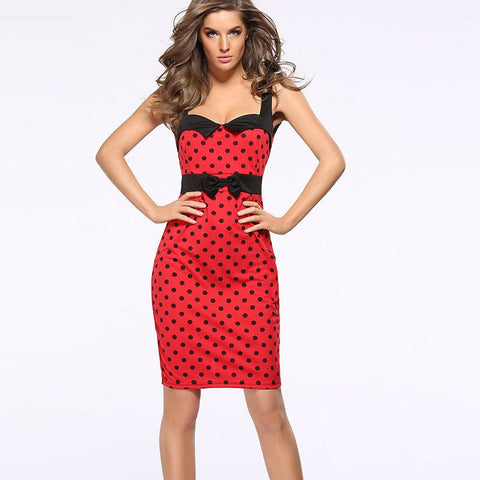 Sleeveless Dot Print Pencil Dress