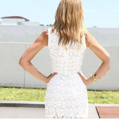 Sleeveless Elegant White Mini Dress