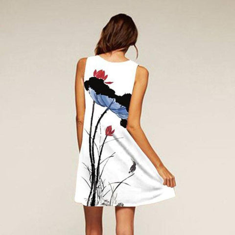 Sleeveless Floral Print Summer Mini Dress