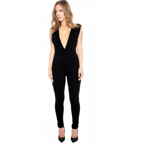 Adogirl Deep V-Neck Pencil Jumpsuits