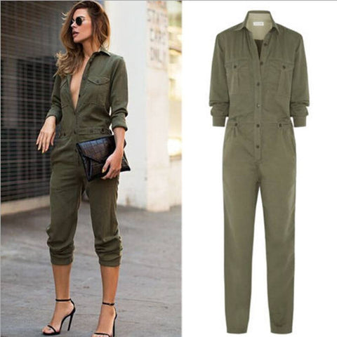 Army Green Long Sleeves Slim jumpsuit