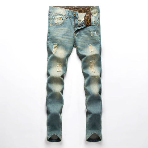 New fashion Men's Classic holes Straight  jeans