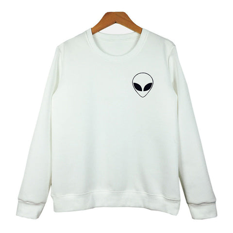 Alien Print Long Sleeve Sweatshirt