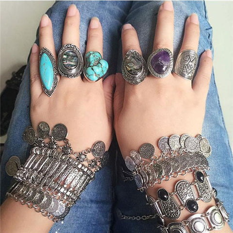 Bohemian Style 1 piece Vintage Antique Silver Color Rings