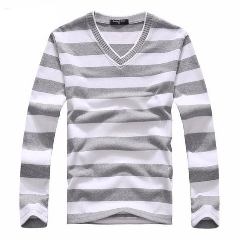 Basic striped V neck pullover